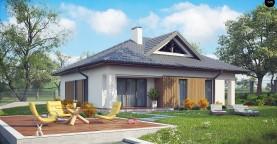 Проект комфортного одноэтажного дома с оригинальными фасадными окнами на чердаке.