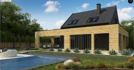 Современный дом с 2-х скатной кровлей, окруженный террасой с плоской крышей.