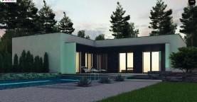 Современный одноэтажный дом с плоской крышей и гаражом на один автомобиль.