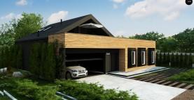 Современный мансардный проект дома с террасой и гаражом на две машины