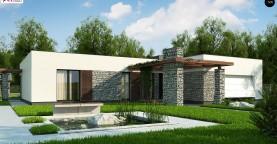 Современный одноэтажный дом с двойным гаражом и плоской крышей