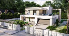 Современный двухэтажный дом с плоской крышей и гаражом на 2 машины.