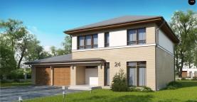 Версия двухэтажного дома Zx24 c увеличенным гаражом для двух машин