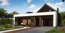 Современный дом с большой террасой и балконом на первом этаже и просторной гостиной
