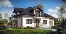 Проект дома с мансардой, с кабинетом на первом этаже и гаражом.