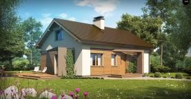 Небольшой одноэтажный дом с оригинальным оформлением террас.
