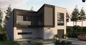Проект современного двухэтажного дома с оригинальным экстерьером и гаражом на один автомобиль.