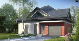 Практичный дом со встроенными гаражом, с большой площадью остекления в гостиной.