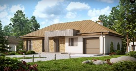 Проект одноэтажного дома с гаражом, с четко выделенной приватной зоной.
