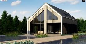 Мансардный дом простой формы с современным оригинальным экстерьером.