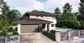 Двухэтажный дом с многоскатной крышей, гараж на 2 машины, большая гостиная