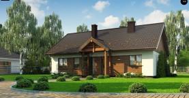 Аккуратный одноэтажный дом с деревянной отделкой на фасадах.