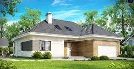 Просторный дом традиционной формы с гаражом и дополнительной небольшой ночной зоной на первом этаже.