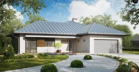 Проект удобного одноэтажного дома с большой угловой террасой.