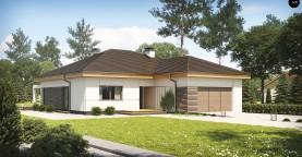 Проект одноэтажного дома с фронтальным выступающим гаражом и возможностью обустройства мансарды.