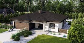 Современный одноэтажный дом с многоскатной крышей и гаражом на две машины.