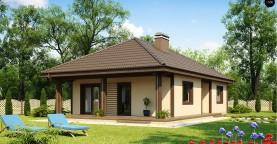 Проект компактного функционального дома с боковой террасой.