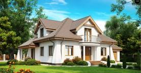 Удобный дом в классическом стиле с красивыми мансардными окнами и балконом.