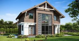 Проект двухэтажного дома с большой площадью остекления.