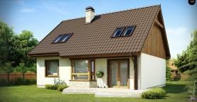 Выгодный и простой в строительстве дом с эркером в дневной зоне.