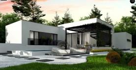 Проект современного одноэтажного дома с плоской кровлей.