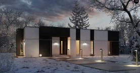Одноэтажный комфортный дом в стиле хай-тек.