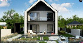 Двухэтажный дом в современном стиле для узкого участка.