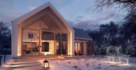 Современный мансардный дом с гаражом на две машины