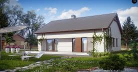 Компактный одноэтажный дом простой формы с возможностью обустройства чердачного помещения.