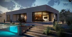 Проект современного одноэтажного дома с плоской кровлей