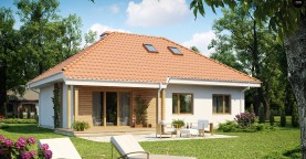 Одноэтажный дом в традиционном стиле с возможностью обустройства чердачного помещения.