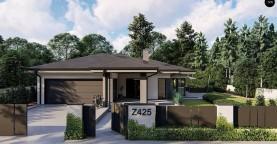 Cовременный одноэтажный дом с многоскатной крышей и гаражом на две машины.