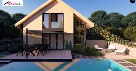 Проект просторного мансардного дома с панорамным остеклением.