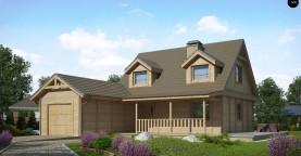 Вариант проекта Z39 c деревянными фасадами и гаражом расположенным с левой стороны.