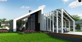 Современный дом с просторной гостиной и большим остеклением