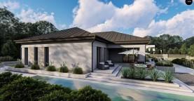 Одноэтажный современный проект дома с многоскатной крышей и гаражом на две машины.