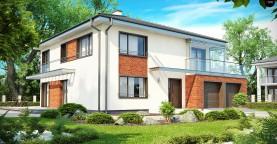 Комфортабельный двухэтажный дом простой формы со стеклянным эркером над гаражом.