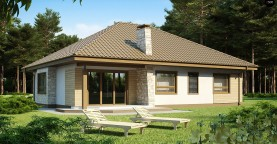 Одноэтажный удобный дом с фронтальным гаражом, с возможностью обустройства мансарды.
