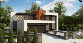 Проект двухэтажного дома в современном стиле с гаражом для двух машин и просторной террасой над ним.