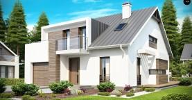 Стильный комфортный дом современного дизайна со встроенным гаражом.